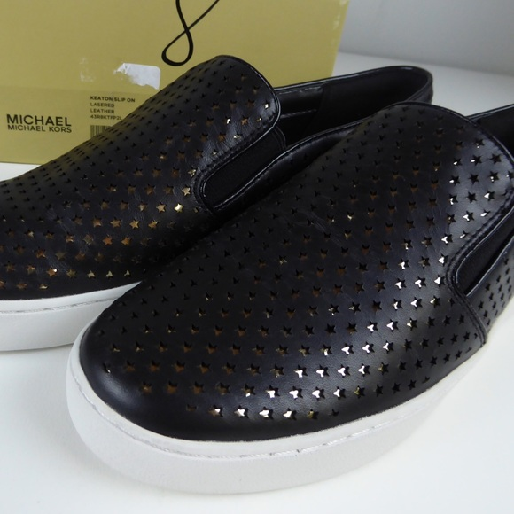 fe3f3c1b676f7 Michael Kors Keaton Slip On Lasered Leather Shoes
